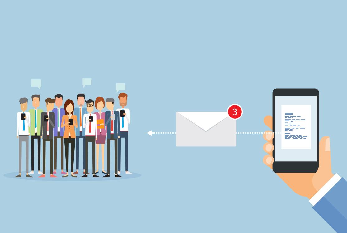 sms til email til grupper
